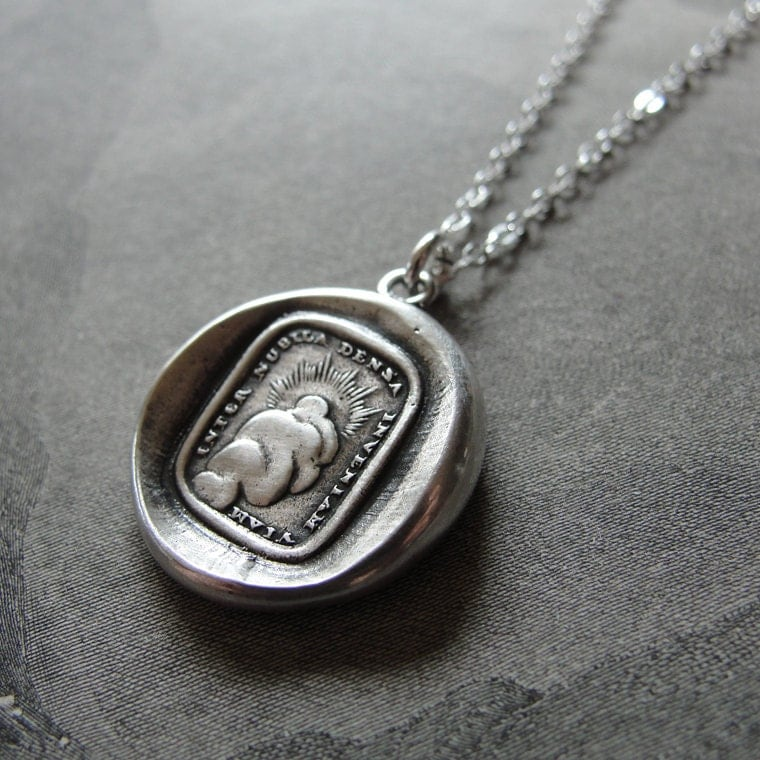wax seal necklace sun antique wax seal charm jewelry by