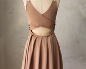 FINAL SALE // Derica Mocha - Jumper dress w pockets / stretch ponte / caramel tan / cut out / bridesmaid dress / pleated skirt / day