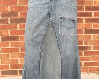 Long Jean Skirt - Extra Pocket- Womens - Made To Order