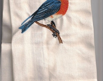 New Tea Kitchen towel embroidered BLUE BIRD