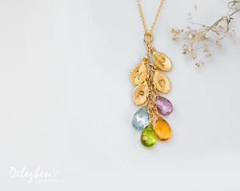 OOAK - Birthstone Cascade Necklace - Custom Initial Jewelry - Personalized Birthstone Necklace - Personalized necklace