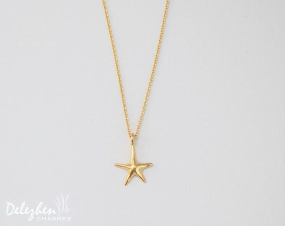 Gold sea star charm necklace - minimalist everyday jewelry - gift for her - bridesmaid necklace - layering necklace