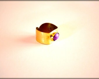 Purple Turqoise Ring, Statement Ring, Artisan Ring, Gemstone Ring, Purple Ring,