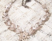 Vintage Sterling Silver Filigree Flower Choker/Necklace