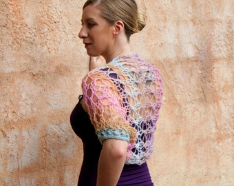Romina- Pastel Colored Multicolor Pink Blue Orange Green Turquoise Summer Spring Bridesmaid  Open Knit Shrug by Eva Bella