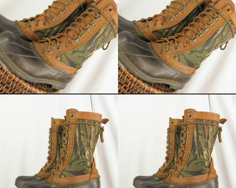 CAMOUFLAGE Sz 8 LL Bean Duck VintAGE Hunting Rubber & Leather Tall Boots MEN