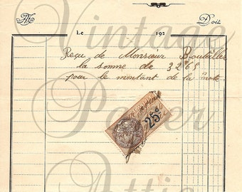 French Antique Invoice Document with Stamp Cute House Graphic Pretty Typography from Vintage Paper Attic