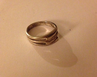 Vintage Sterling Silver adjustable sterling ring adjustable SIZE 8-10 geometric retro perfect fit