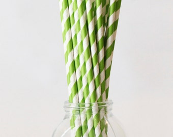 Lime Green Paper Straws Lime Green and White Party Supplies Apple Green Straws Colorful Party Supplies St. Patricks Day Party / Set of 20