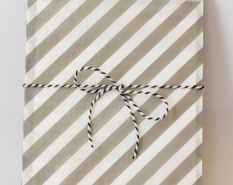Grey and White Stripe Paper Favor Bags Gray Party Supplies Gender Neutral Gray Treat Bags Goodie Bags Grey Striped Gift Bags / Set of 12