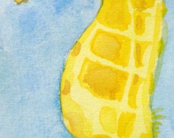 """5 x 9 Digital Print of Original Watercolor: """"Seahorse"""""""
