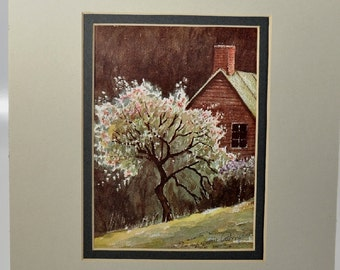 Archie Campbell Art Print Crabapple Morn Matted - No Frame - Signed on Print