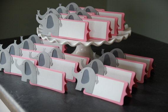 Elephant Birthday Plates: Elephant Place Cards, Elephant Seating Cards, Elephant