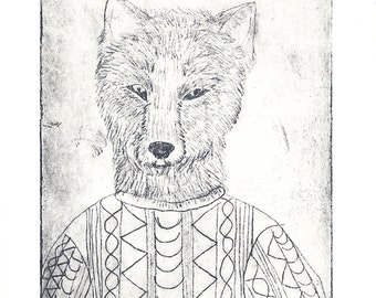 Original Hand Pulled Etching - Wolf in Sheep's Clothing