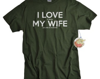 Valentines Day Gifts for Husband - Mens Gift - Hunting Gifts for Men - I Love My Wife Shirt