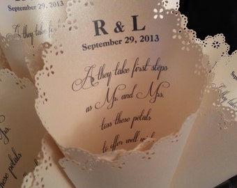 20  light Ivory shimmer wedding Petal Cones with laser edge.