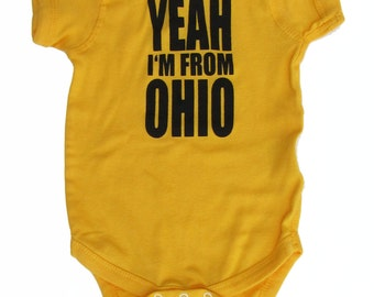 Yeah I'm From OHIO - Yellow Gold Baby One-Piece