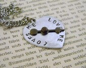 Stamped Loves Me Spinner Heart Charm Necklace Valentine's Day Graduation Gift