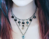 RESERVED FOR DP - Black Choker Necklace, Victorian Goth Choker with Large Ornate Pendant