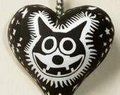 Manic Felix the Cat Stars Heart Shaped polymer clay pendant