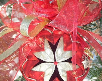 EASY No-Sew Folded Quilted Flower Christmas Ornament PDF Pattern with Simple Bow Instructions.  Instant download!