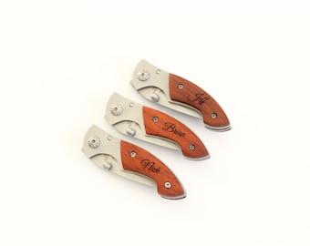 Set of 4 Engraved Pocket Knives, Custom Knives, Groomsman gifts, Junior Groomsman, Mini Pocket Knife, Wedding Party Gifts, Ring Bearer gifts