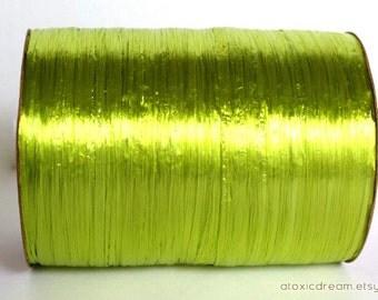 Pearl Chartreuse Green Raffia Ribbon - 30/100 yards - 1/4 inch wide