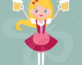 Oktoberfest Beer Maiden Clip Art Clipart Set - Commercial and Personal use