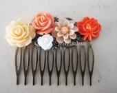 Orange Wedding Hair Comb Coral Apricot Neutral Peach Beige Bridal Head Piece Bridesmaids Gift Shabby Chic Flower Hair Pin Floral Hair Comb