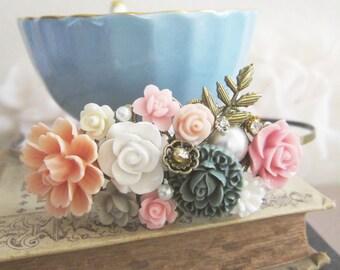 Pink Wedding Headband Bridal Hairband Floral Peach Blush Pink Gray Flower Head Piece Bridesmaid Gift Soft Dreamy Pastel Color Misty Romance