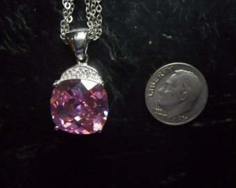 Sterling Silver Pink Ice Pendant on Triple Chain Necklace