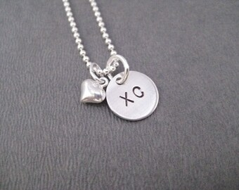 LOVE XC Puffed Heart Sterling Silver Cross Country Running Necklace - 16, 18 or 20 inch Sterling Silver Ball Chain - XC Love - Xc Team