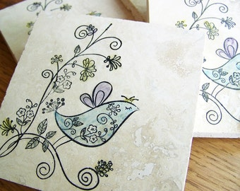 coasters, natural stone, whimsical birds - set of 4 -