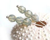 30pc Opal Light Grey Fire polished beads, 6mm, czech glass, round spacers, grey beads - 1826