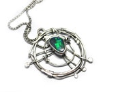 RESERVED Free Form Black Opal Pendant Silver Solarium Circuits