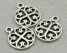 Celtic Heart Charms clover Antique Silver 6pcs pendant Beads 14mm CM0576S CM0576B