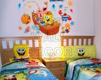 PEEL and STICK Removable Vinyl Wall Sticker Mural Decal Art - SpongeBob Fishing