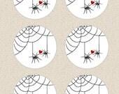 Permanent Stickers, Envelope Seals, Labels, Scrapbook Embellishments - Spider Sweeties
