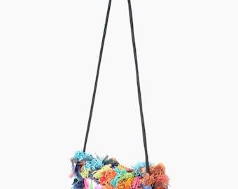 Colorful Hair Purse Cross Body  Handbag Handmade Hmong Embroidered Fabric Thailand  (BG811H-WN2)
