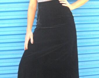 Black Velvet A-line Maxi Skirt. Size 4.