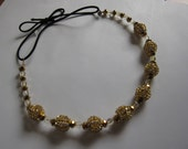 Gold Crystal Metal Beaded Elastic Headband, for Bridal, weddings, parties, evening, cocktail, special occasions