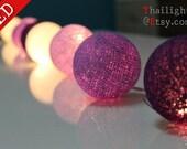 LED - Mix Purple Cotton Ball Wedding Holiday/Party String Lights 20 Lanterns