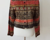 Vintage Lord & Taylor Silk Aztec/Ethnic Cropped Jacket/Blazer