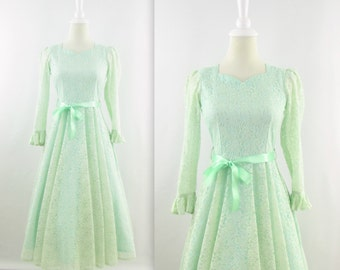 Vintage Sweet Mint Lace Dress - 1950s 60s Tea Length Party Dress w/ Circle Skirt - XSmall