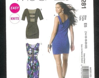 McCall's 6281 Form Fitting Wiggle Dress With Revealing Back Variations, Sizes 14 to 22, UNCUT/NEW