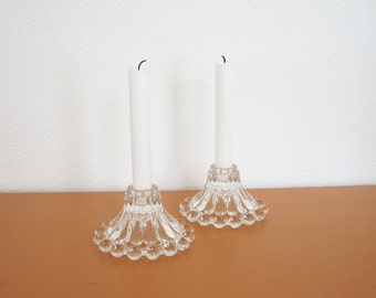 Vintage Beaded Glass Candle Holders, Candlewick-Style