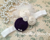 Vintage inspired deep purple and Ivory Headband/Child Headband /baby Girl Headband /Photo prop Headband/christmas headband