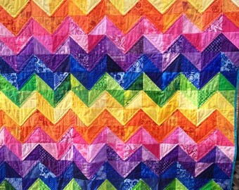 "Handmade AdventureTime ""Taste the Rainbow"" Reversible Chevron Quilt Twin Size"