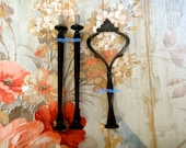 BLACK 3 tier HEAVY Crown Cake Plate Stand Fitting Handle DIY
