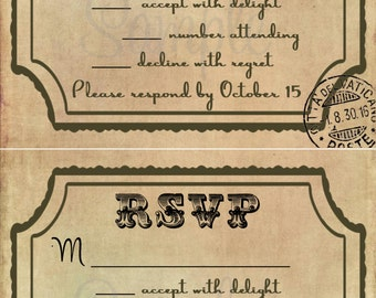 Vintage Wedding RSVP Template